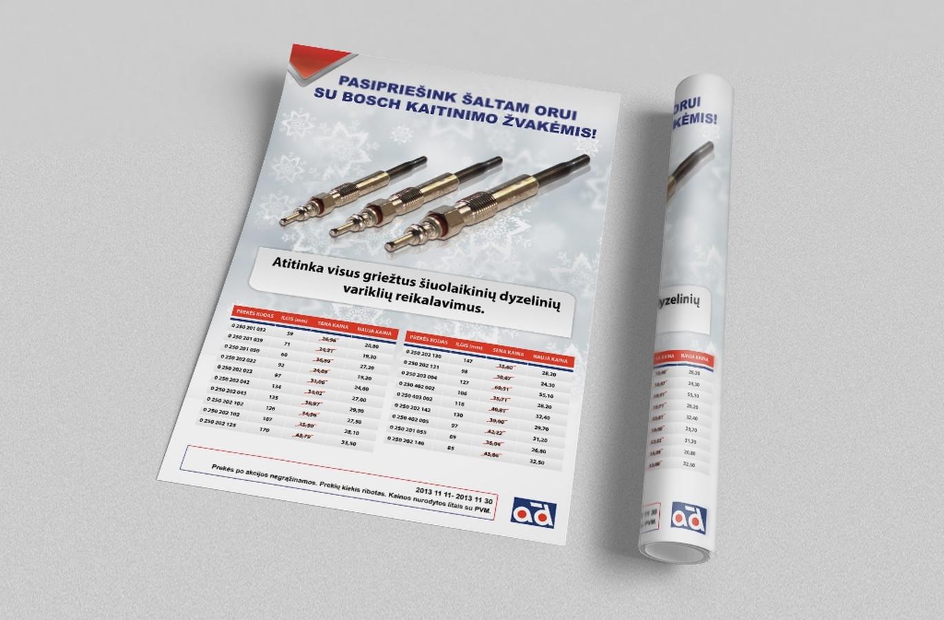 Plakatas, kurtas įmonei AD-Baltic kaitinamų žvakių akcijai.