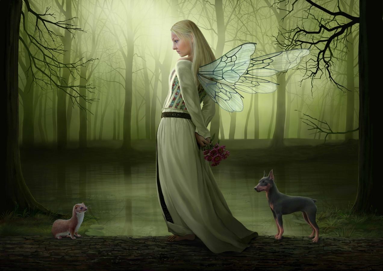 Paveikslas, atspindintis mergaitės svajonę, su jos mėgiamais gyvūnėliais. Portretas nutapytas iš nuotraukos.
