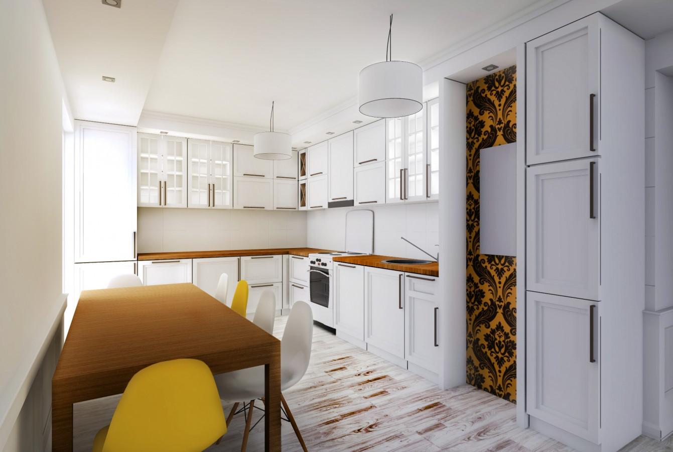 Namo interjero vizualizacija2. Virtuvė. Suprojektavau virtuvės baldų komplektą :)