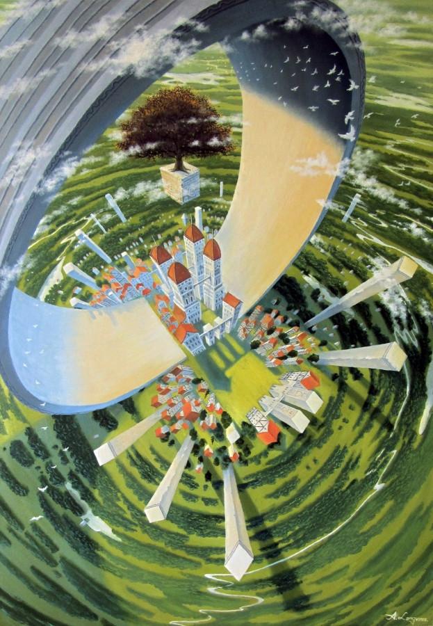"""""""Žiedo miestas"""" aliejiniai dažai ant drobės, paveikslo dydis 120x80cm.  (PARDUOTA)"""