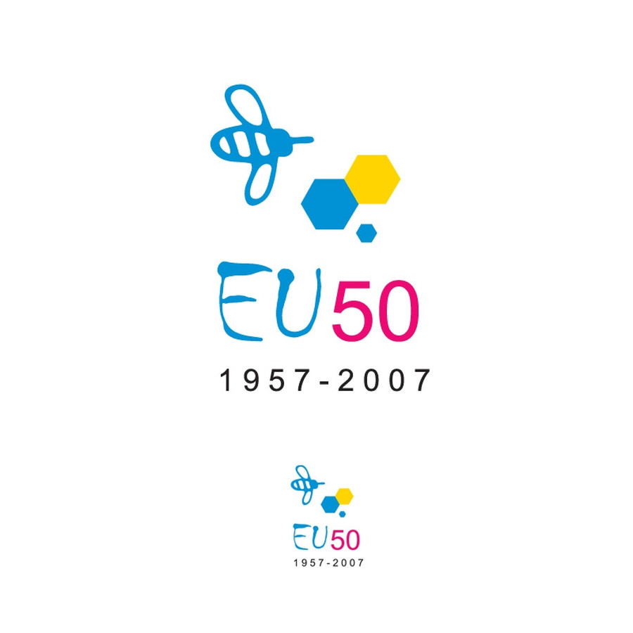 """Logotipas konkursui """"Europos sąjungai 50 metų"""". Ženklas pateko į geriausiųjų 10-uką.   Konkursinis pasiūlymas """