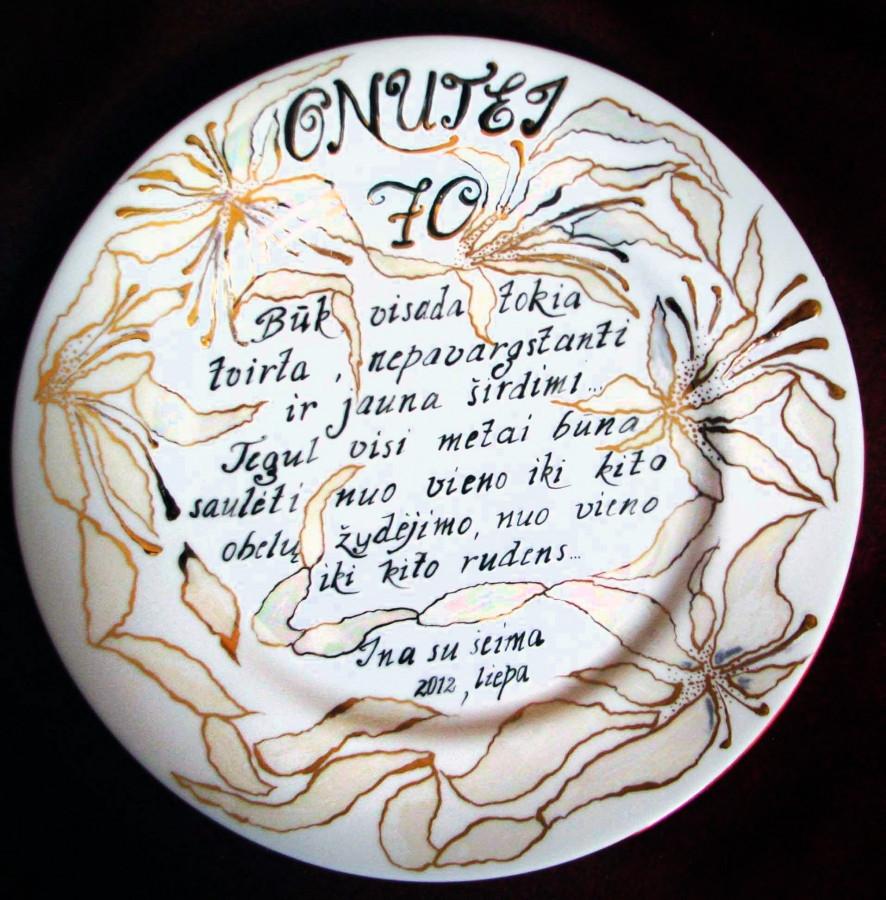 Dekoruota porcelianinė lėkštė