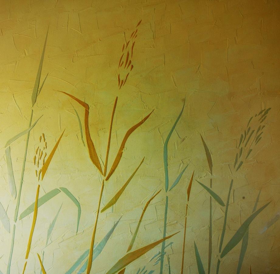 Sienų dekoravimas, švendrių motyvas. Dekoruota siena. Reljefinis sienos dekoras. Decorated wall. Wall Decor. Embossed wall decor.