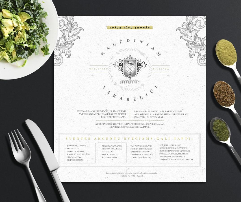 """Komercinio pasiūlymo dizainas restoranui """"Barbarisinė antis"""""""