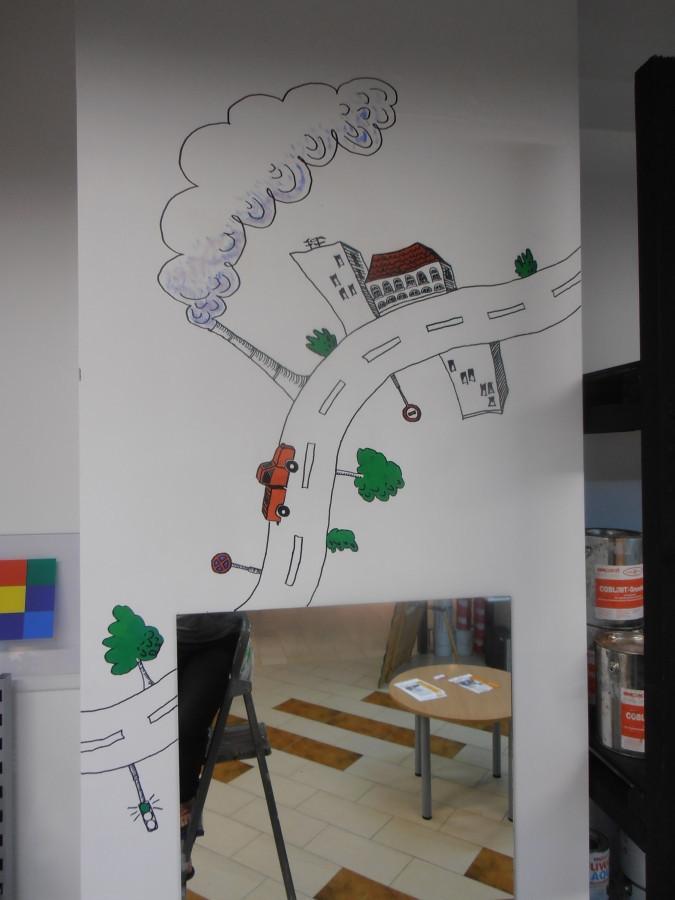 Piešinys ant sienos. Sienų dekoravimas.
