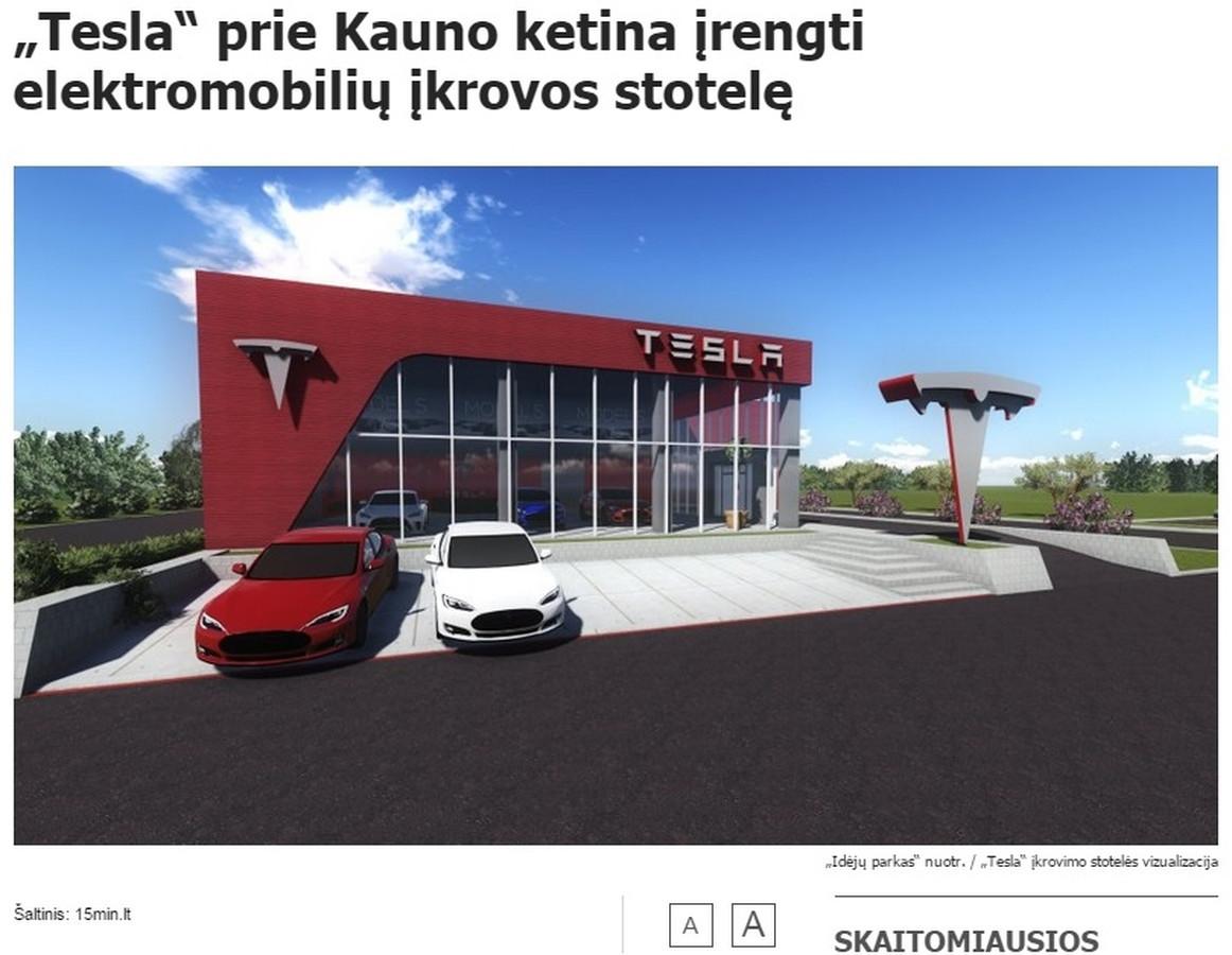"""Mano parengtas pranešimas žiniasklaidai apie JAV kompanijos """"Tesla Motors"""" planus žengti į Lietuvą buvo publikuotas visuose pagrindiniuose šalies naujienų portaluose: DELFI, Lrytas.lt, 15min.lt ir kituose."""