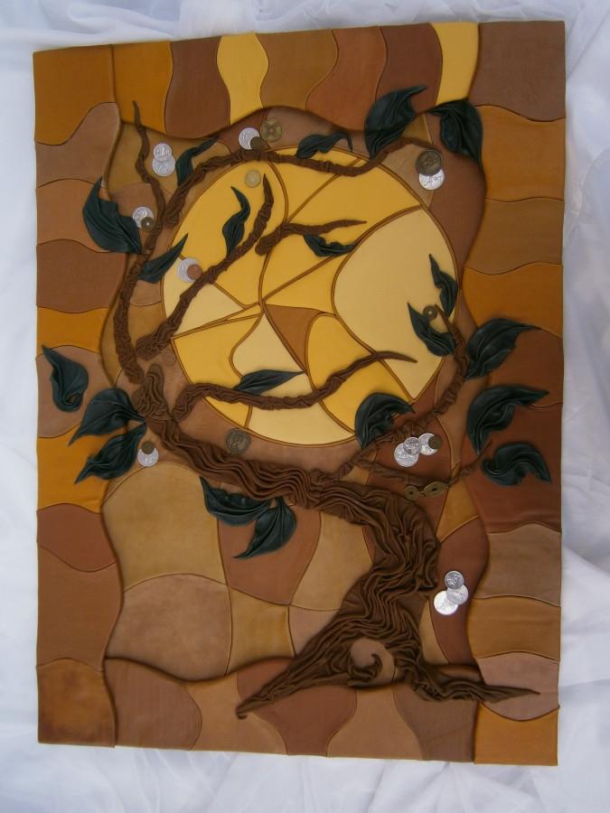 """Natūralios odos  mistinis paveikslas išskirtiniam interjerui """"Pinigų medis"""". Darija777-73"""