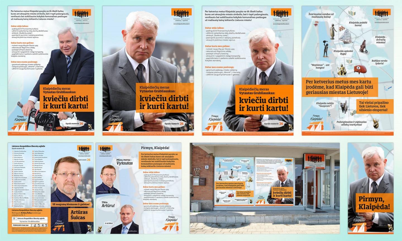 Reklaminės kampanijos kūrimas ir dizainas Klaipėdos liberalų skyriui savivaldybių tarybų rinkimams 2015 m. Užduotis buvo sukurti įdomią, pritraukiančią ir vizualiai patrauklią reklaminę kampaniją, bei laiku profesionaliai įgyvendinti visus sumanymus. Nei vienas darbas nevėlavo ir viskas buvo atlikta pagal numatytus terminus. Rezultatas - Klaipėdos liberalų skyrius laimėjo savivaldybių tarybų rinkimus 2015 m. Projekto trukmė - 5 mėn., 2014-2015 m. Pilna reklaminė kampanija: https://issuu.com/karolisrimkus/docs/liberalu_reklamos_kampanijos_brosiu