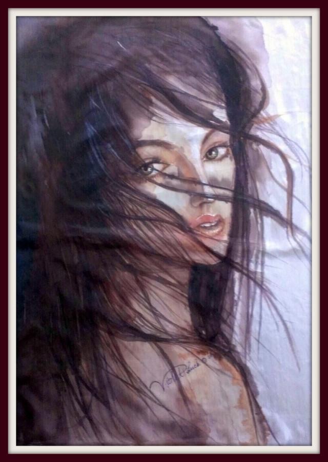 """Silko paveikslas """"Prancuzei"""" - pagal uzsakyma piestas paveikslas manekenei gyvenanciai Paryziuje - PARDUOTA"""