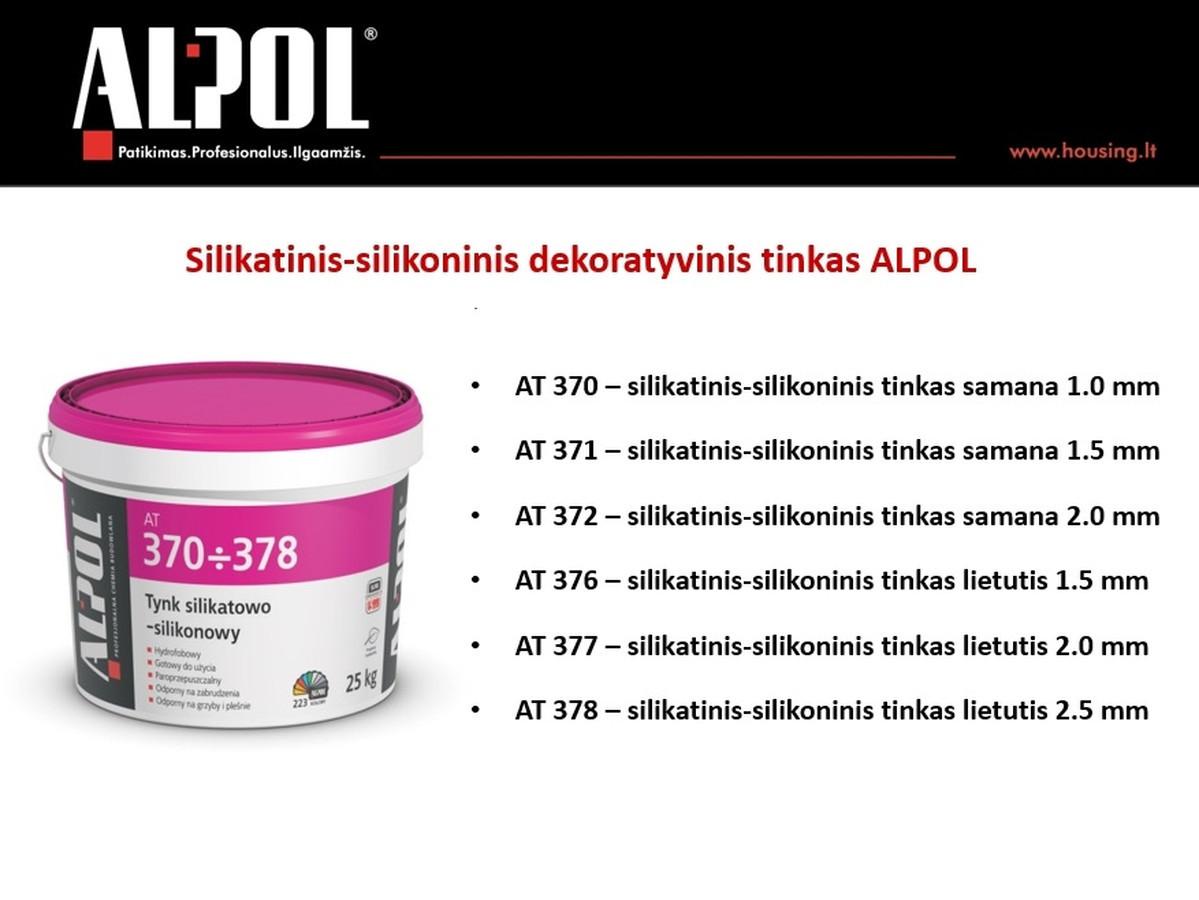 Silikatinis-silikoninis tinkas ALPOL AT 370-378 pasižymi pačiomis geriausiomis silikatinio ir akrilinio tinko savybėmis. Atsparus drėgmės poveikiui ir apsaugo fasadą nuo korozijos.  Speciali kaina: 27,51 Eur (be spalvos)