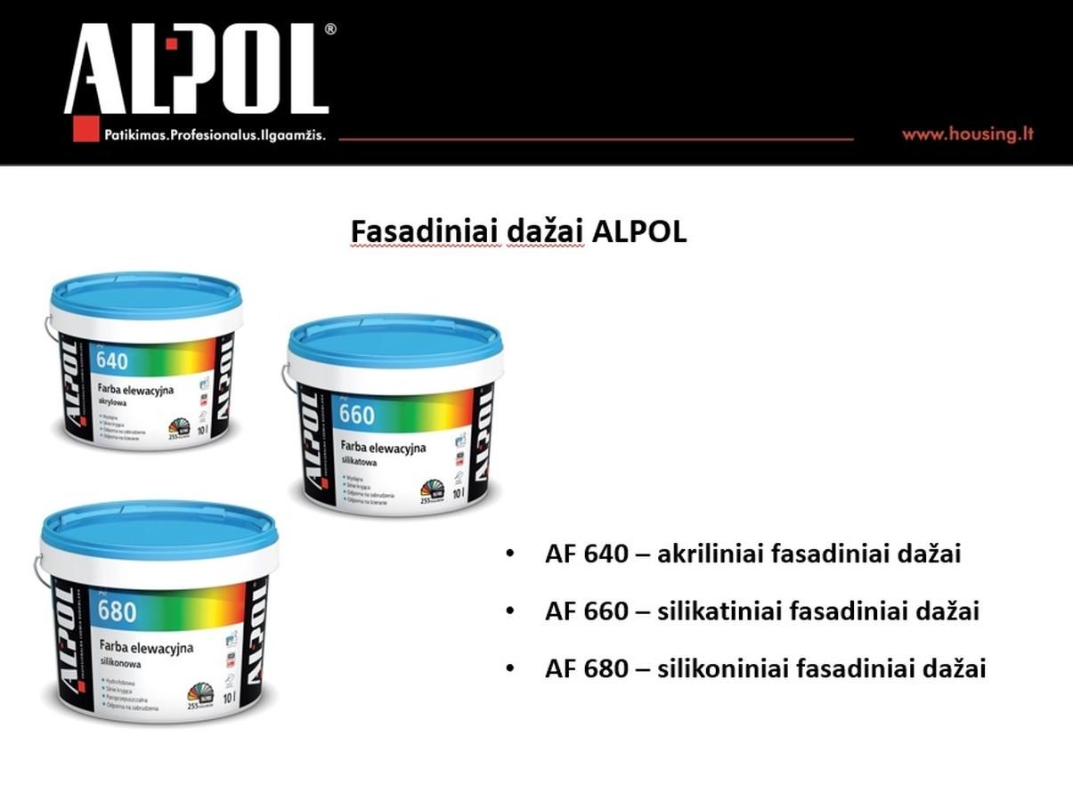 Mineraliniu tinku padengtą fasadą reikėtų užbaigti dažant išorės veiksniams atspariais dažais. ALPOL AF 640 akriliniai fasadiniai dažai arba ALPOL AF 680 silikoniniai fasadiniai dažai 5L  Speciali kaina: 13,98 Eur (be spalvos)