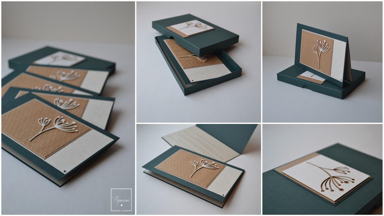 Kvietimas su dėžute. Dydis - 100 x 150. Dvi dalys - kvietimo pagrindas su tekstu ir dekoru bei dekoruota dėžutė. Kokybiška spauda + rankų darbas.