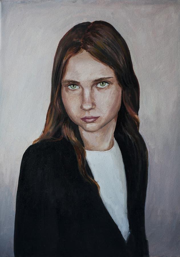 Portretas iš nuotraukos ant drobės.