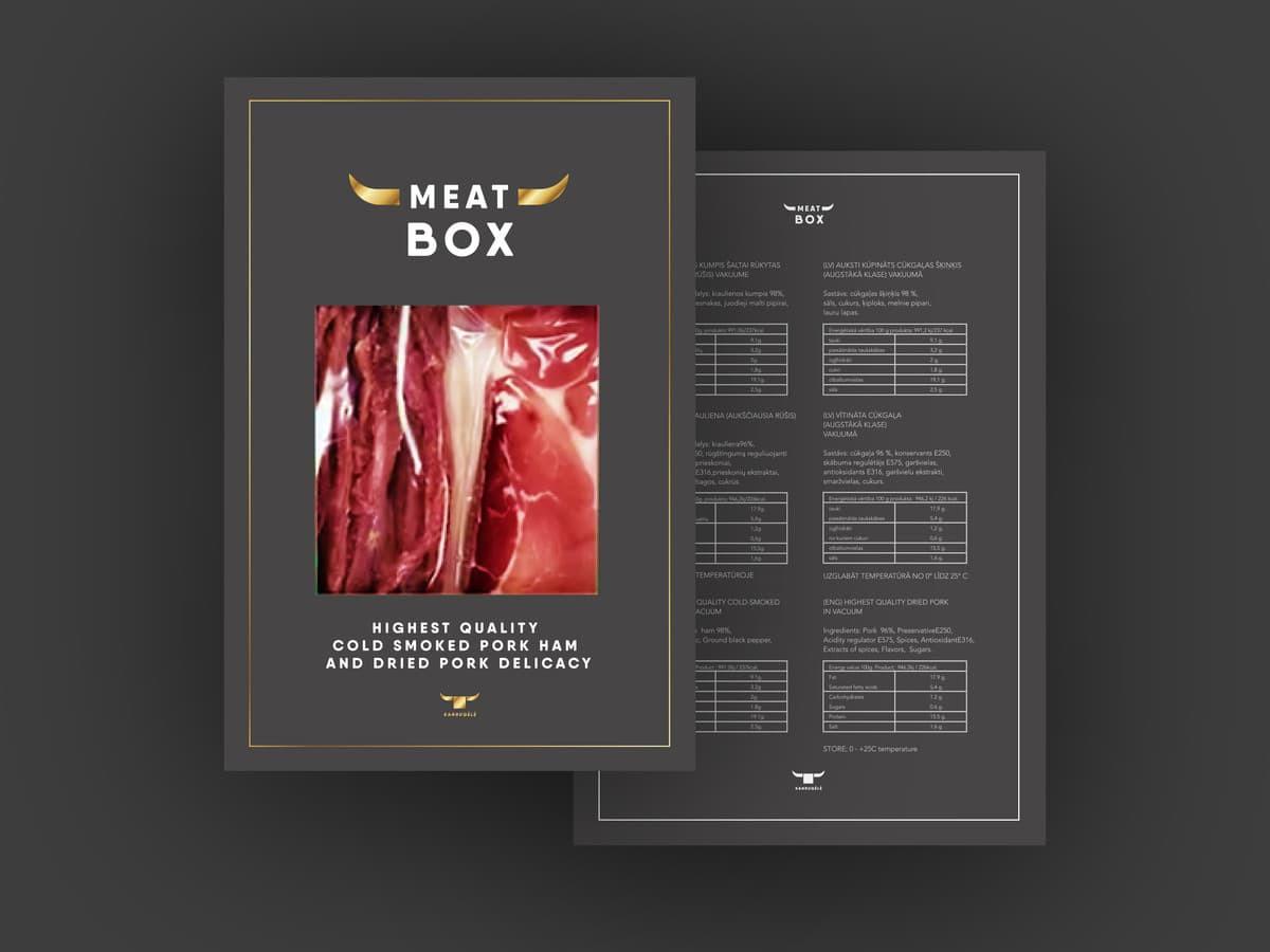 """Mėsos perdirbimo """"Kanrugėlė """" produkto linijos """"Meat Box"""" pakuotė"""