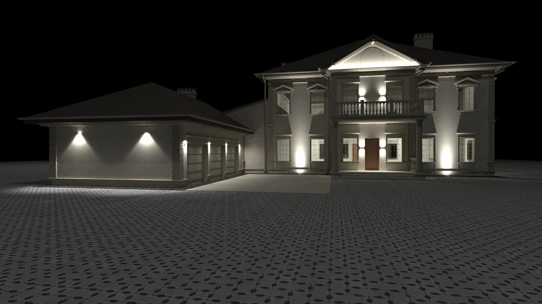 Individualaus namo lauko apšvietimo vizualizacija.