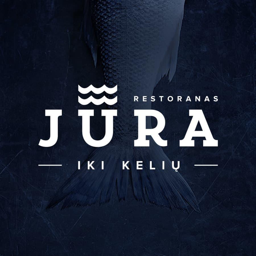 """Tikros žuvies restorano """"Jūra iki kelių"""" logotipas   Fish restaurant logotype"""