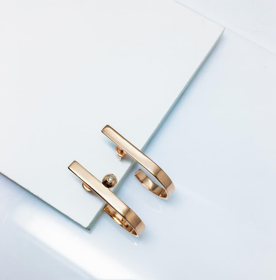 Nuotakos auskarai iš aukso puošti 0.016ct briliantu