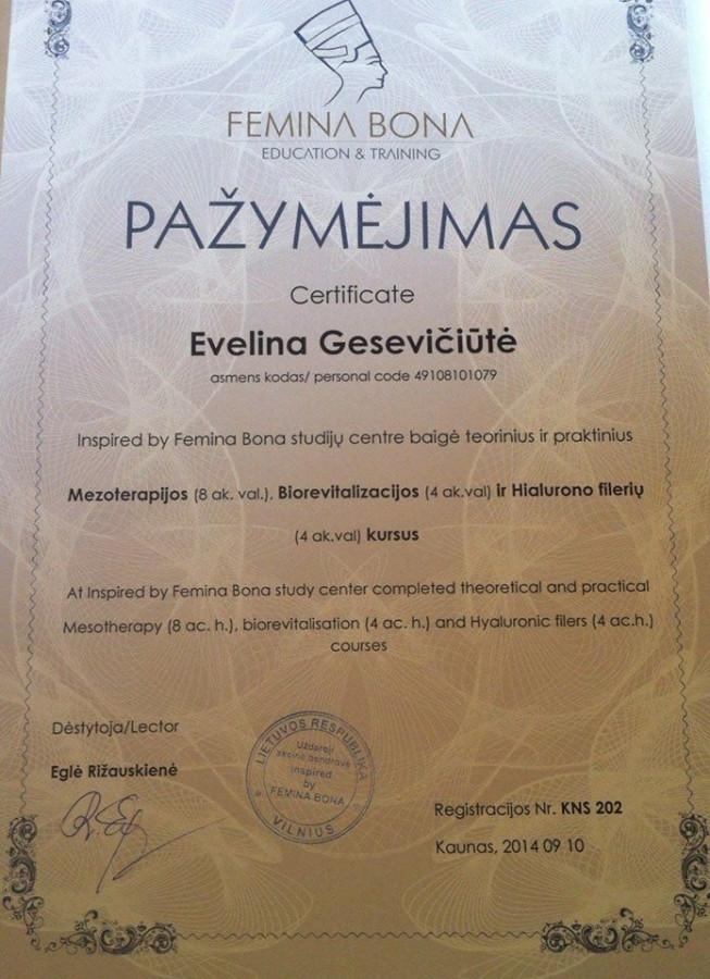 """Kvalifikacijos kėlimo seminaras  """"Femina Bona"""" mezoterapijos, biorevitalizacijos, hialurono filerių teoriniai ir praktiniai kursai"""