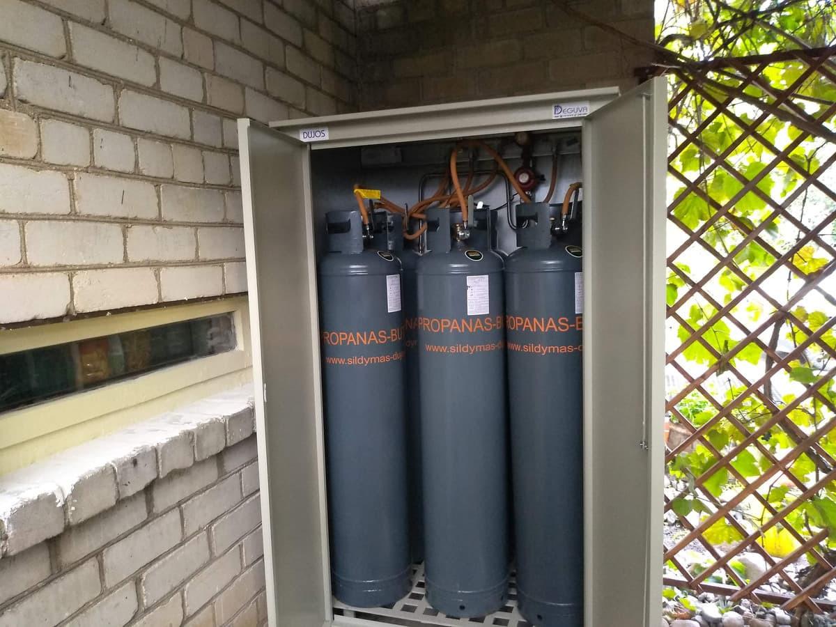 Šildymas dujų balionais, balionų sistemos montavimas, dujinio katilo prijungimas prie sistemos nuo 500€
