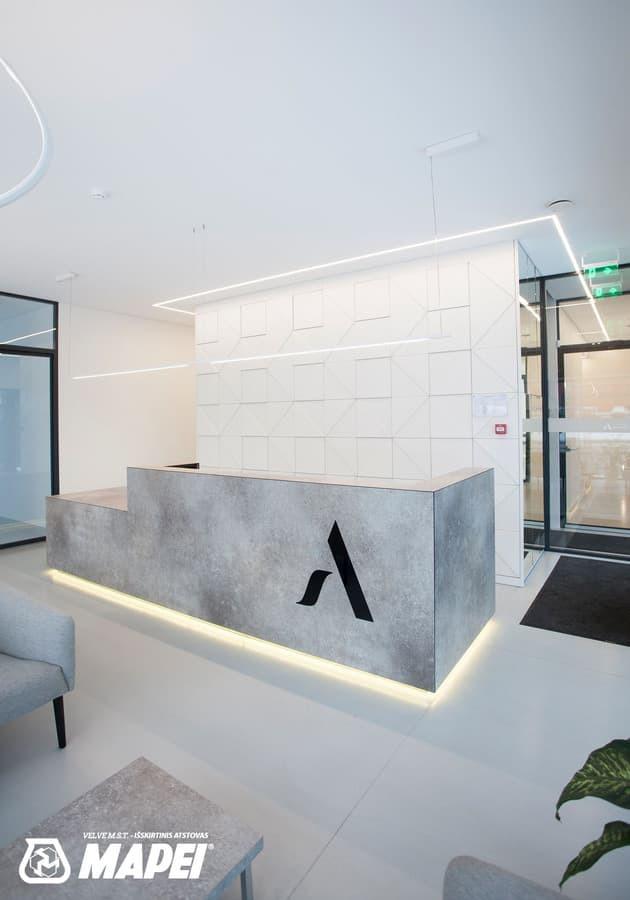 ULTRATOP dekoratyvinio betono grindų danga. Natūralus efektas. Odontologijos kabinetas, Kaunas.  http://velvemst.lt/uploads/517_ultratop_lt_160318.pdf