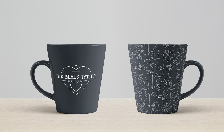 """""""Ink Black Tattoo"""" tatuiruočių studijos puodelių dizaino sprendimas."""