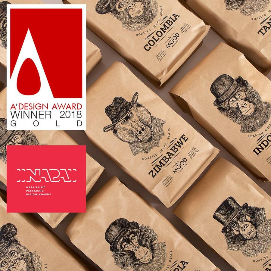 """Sukurtas pavadinimas, logotipas ir pakuotės dizainas rūšinei kavai """"The Mood"""". Gautas aukso advovanojimas didžiausiame pasaulyje dizaino konkurse """"A' Design & Competition"""" ir sidabras NAPA Baltic"""