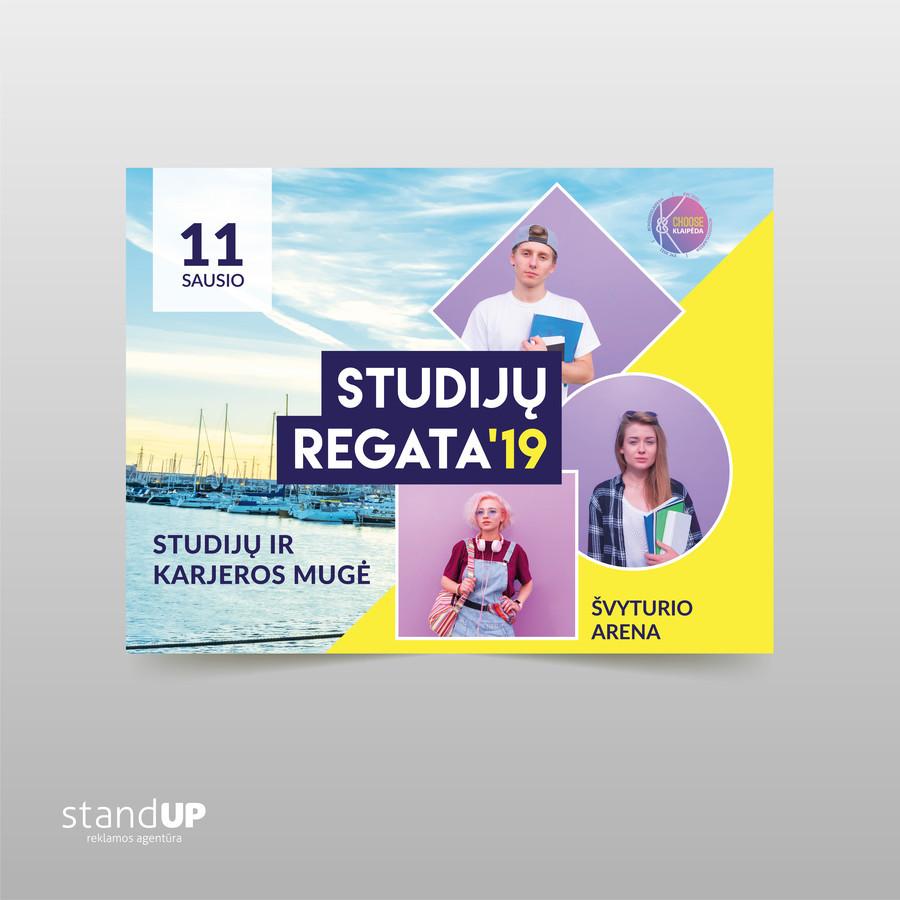 """""""Studijų regata'19"""" karjeros mugė. Jos metu stambiausių bei įtakingiausių Vakarų Lietuvos įmonių atstovai pasidalina sėkmės istorijomis."""