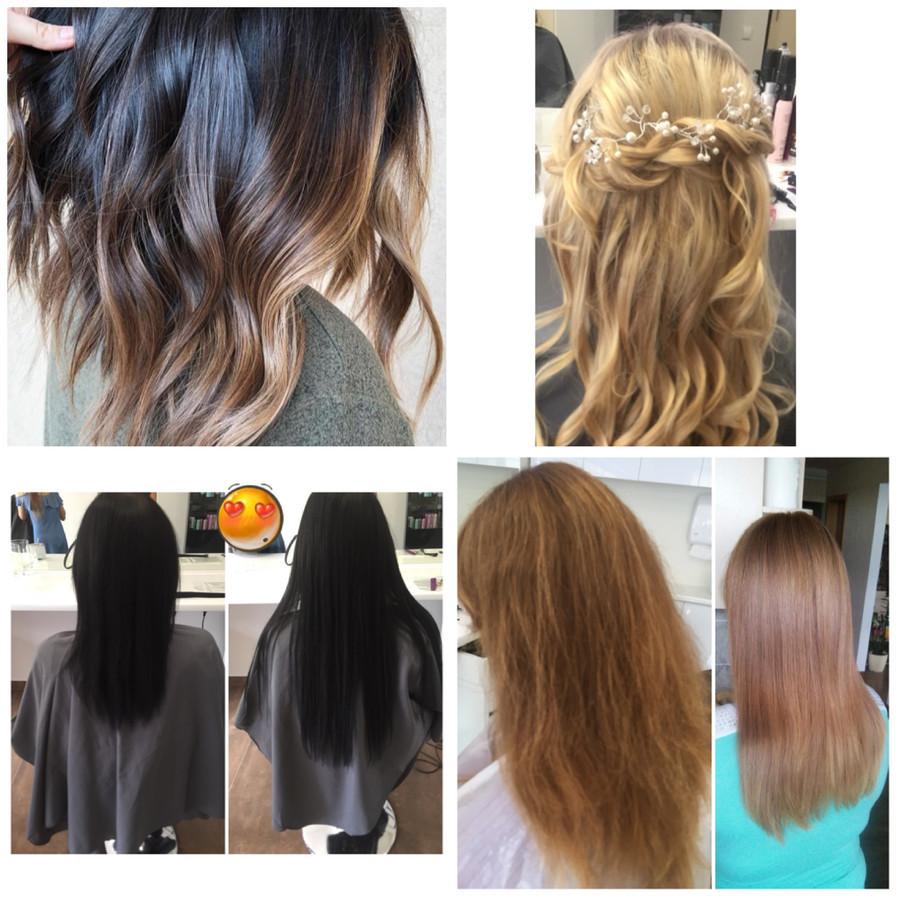 Plauku dažymai, plauku priauginimai, plauku tiesinimai, šukuosenos