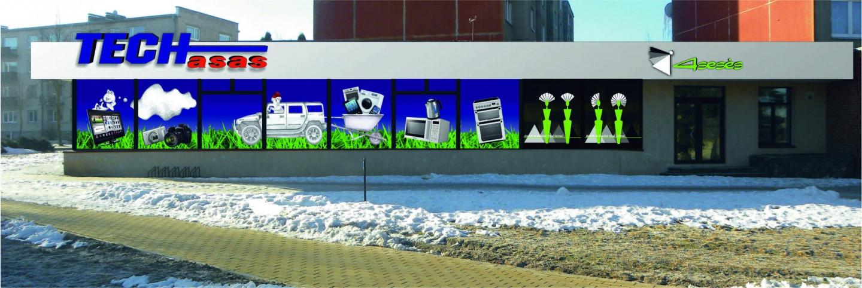 Reklama ant vitrinų