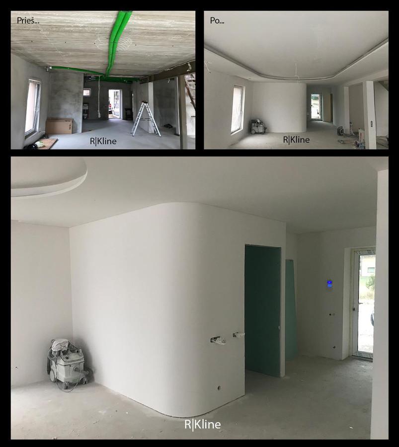 Atliekami apdailos darbai: ofisų, namų ar kt. patalpų įrengimas. - pertvarų montavimo darbai,  - lubų montavimo darbai, - įvairiausių lenkimų sienų ar lubų montavimas, - glaistymo, dažymo darbai.