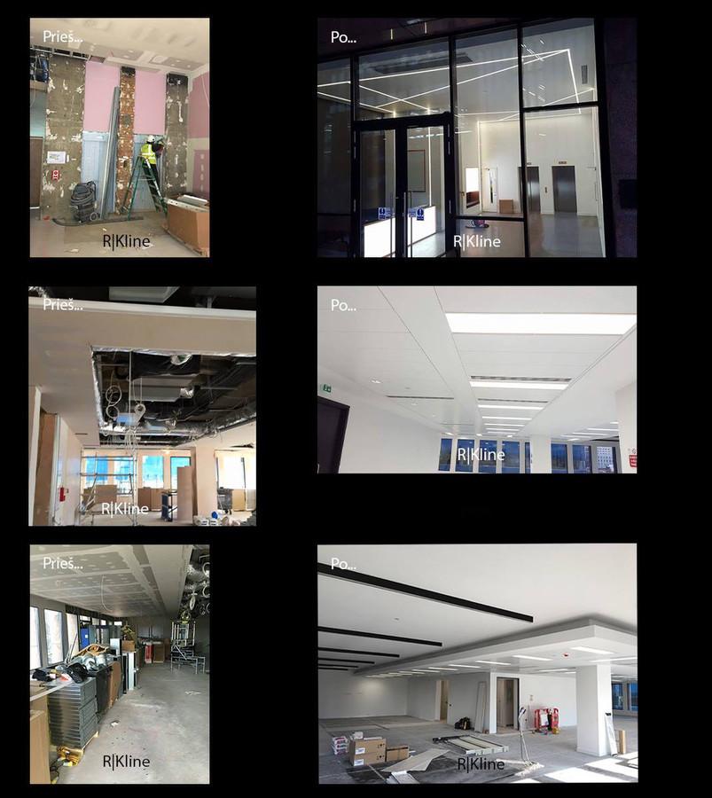 Atliekami apdailos darbai: ofisų, namų ar kt. patalpų įrengimas. - pertvarų montavimo darbai,  - lubų montavimo darbai, - LED montavimo darbai, - kolonų apdirbimas GKP. - glaistymo, dažymo darbai.