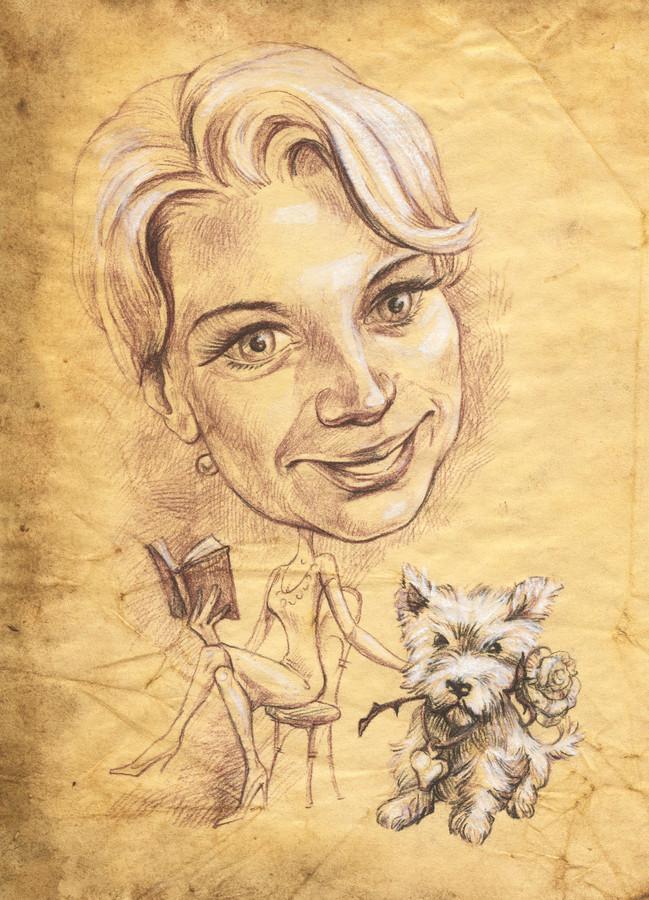 Šaržas, nupieštas ant sendinto popieriaus, imituojant senovinius piešinius.