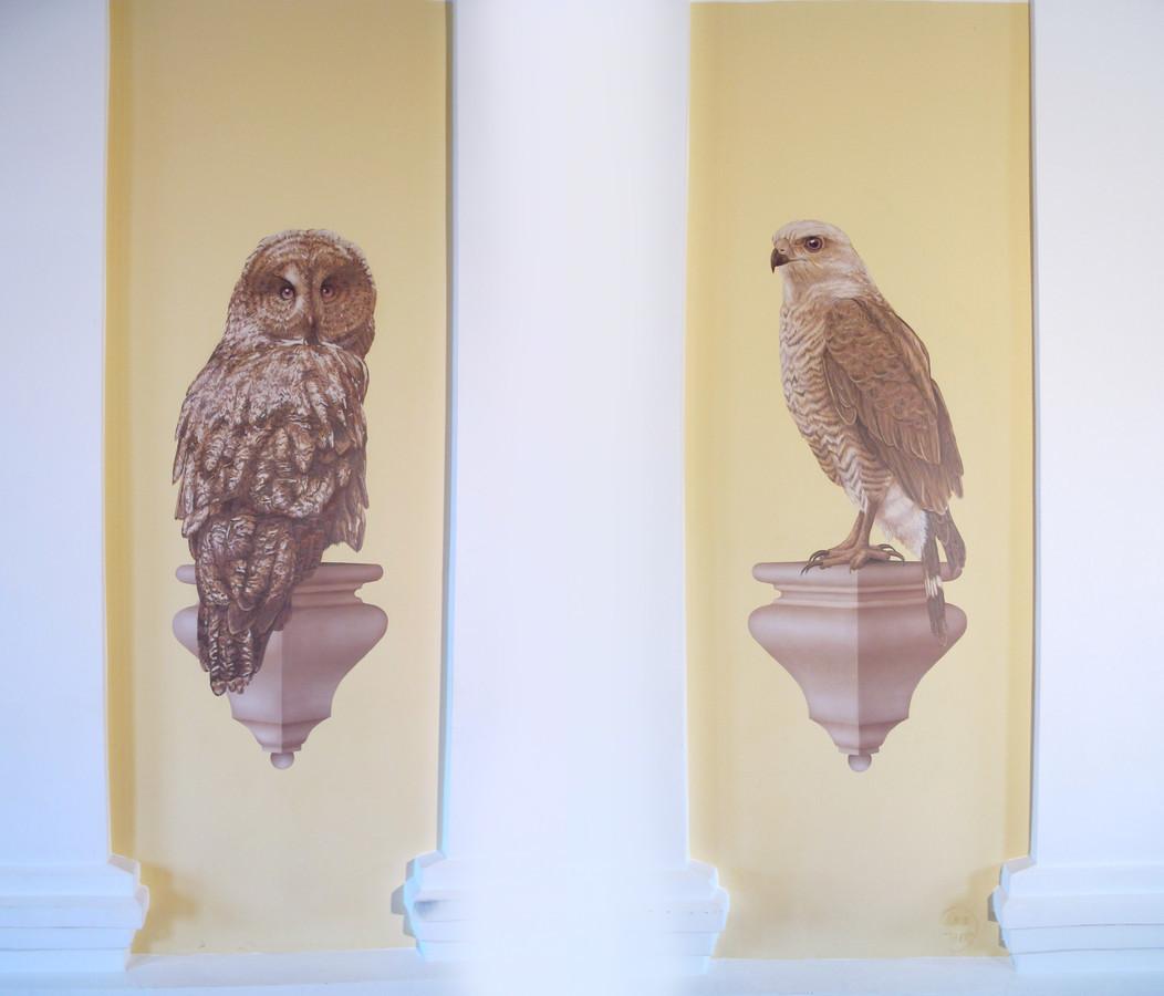 Sienų tapyba dvare. Išminties paukščiai