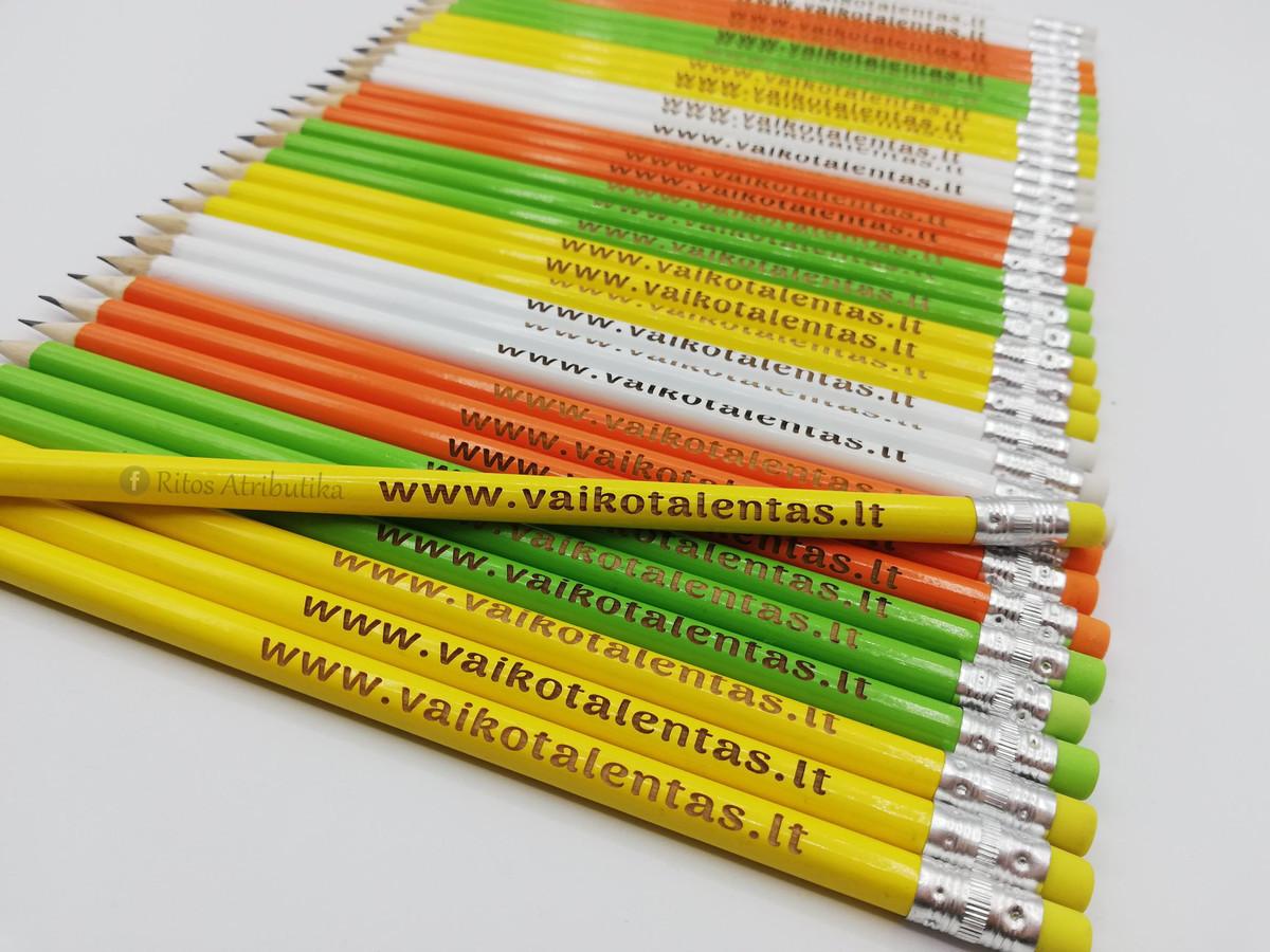 Reklaminiai pieštukai dekoruoti Jūsų įmonės logotipu arba reprezentuojančiu užrašu. Facebook: ritosatributika @ritosatributika