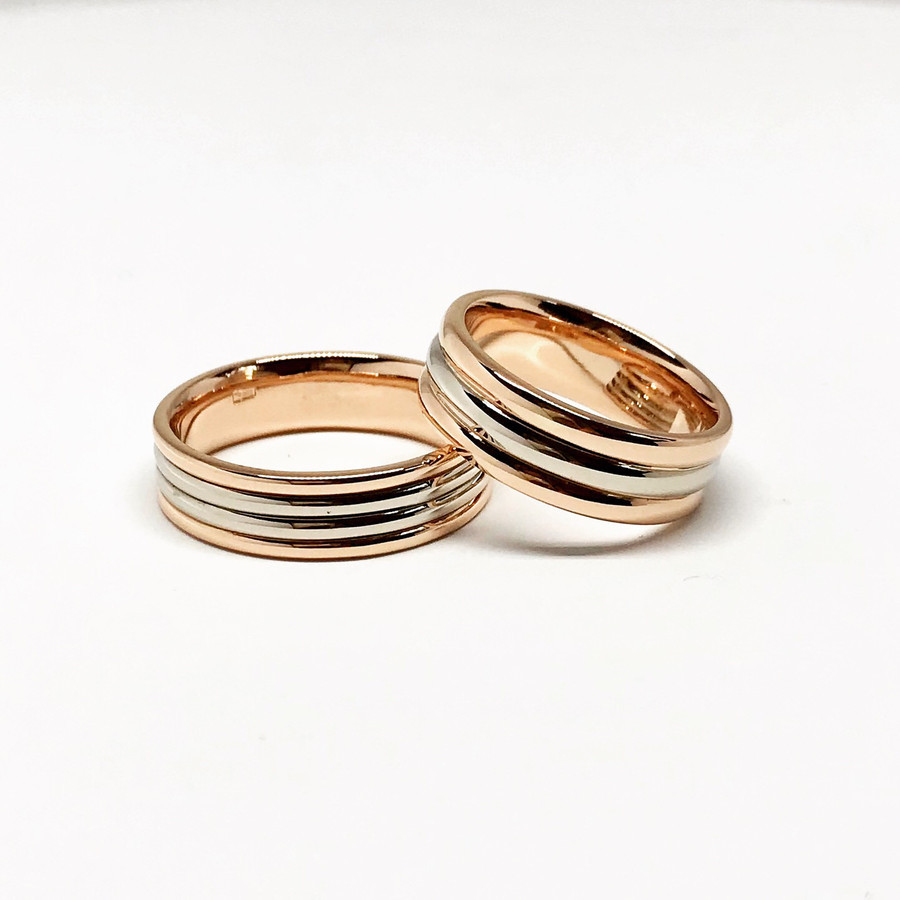 Dvispalviai vestuviniai žiedai.