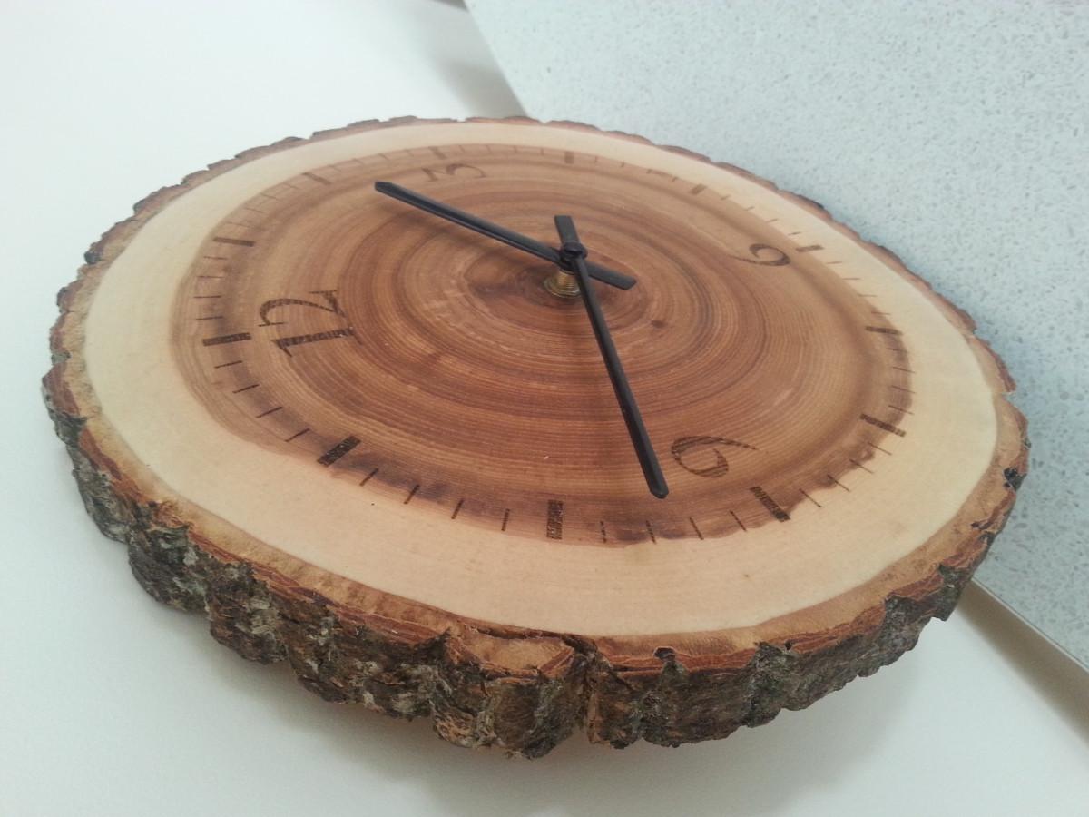 Originalus uosio medienos laikrodis su žieve.