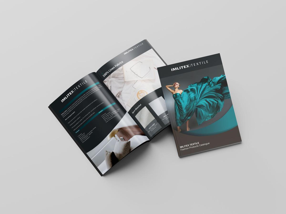 Katalogo dizainas. IMLITEX.// Katalogas kuriame perteiktas įmonės tekstilės asortimentas bei sukurtas aiškus, lengvai suprantamas, svarbiausios tekstinės informacijos pateikimas.