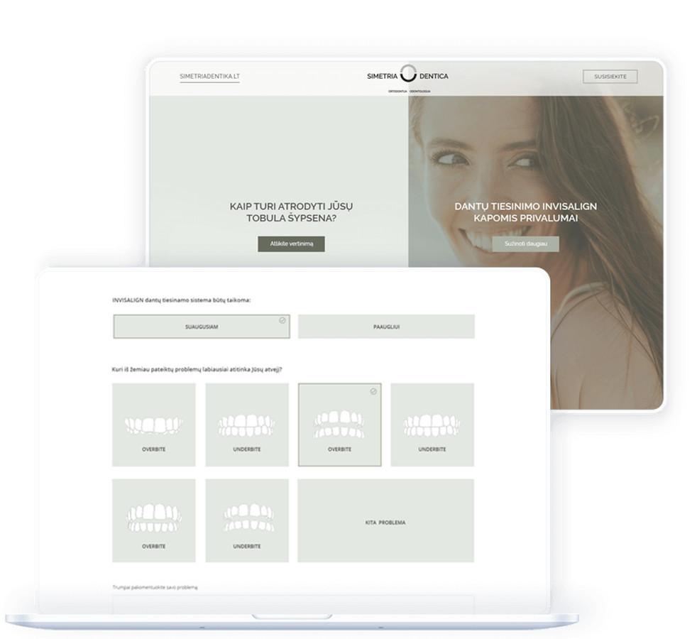 """Odontologijos klinikai """"Simetria Dentica"""" parengėme internetinę reklamos kampaniją ir specialiai jai sukūrėme internetinį puslapį."""