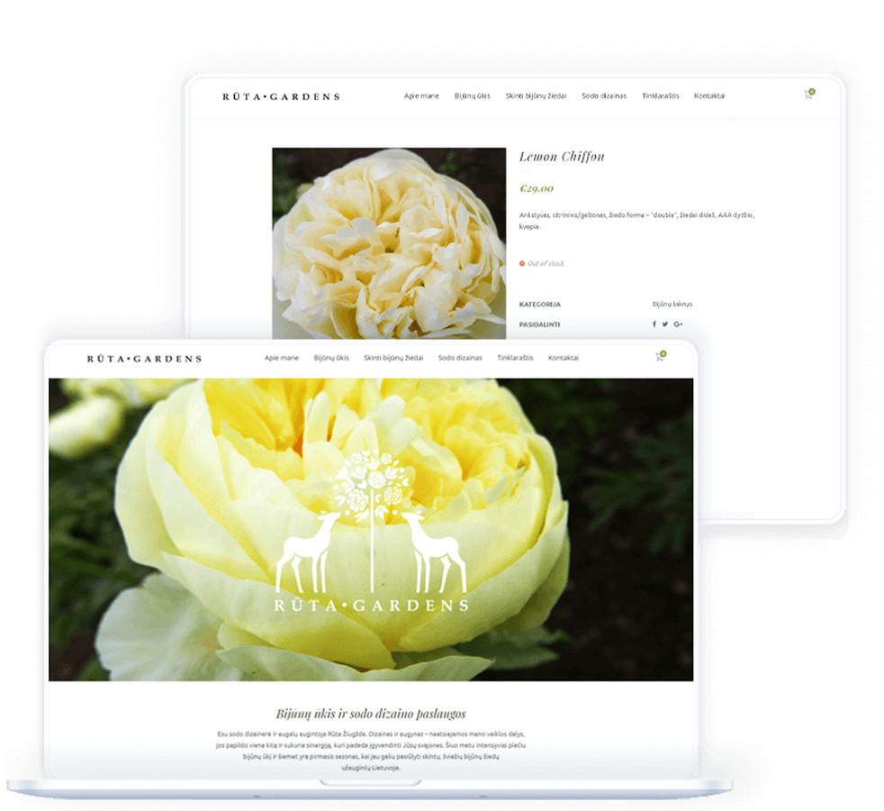 """Internetinėje parduotuvėje """"Rūta Gardens"""" pristatomos sodo dizaino paslaugos bei platus skintų bijūnų žiedų bei bijūnų šaknų asortimentas."""