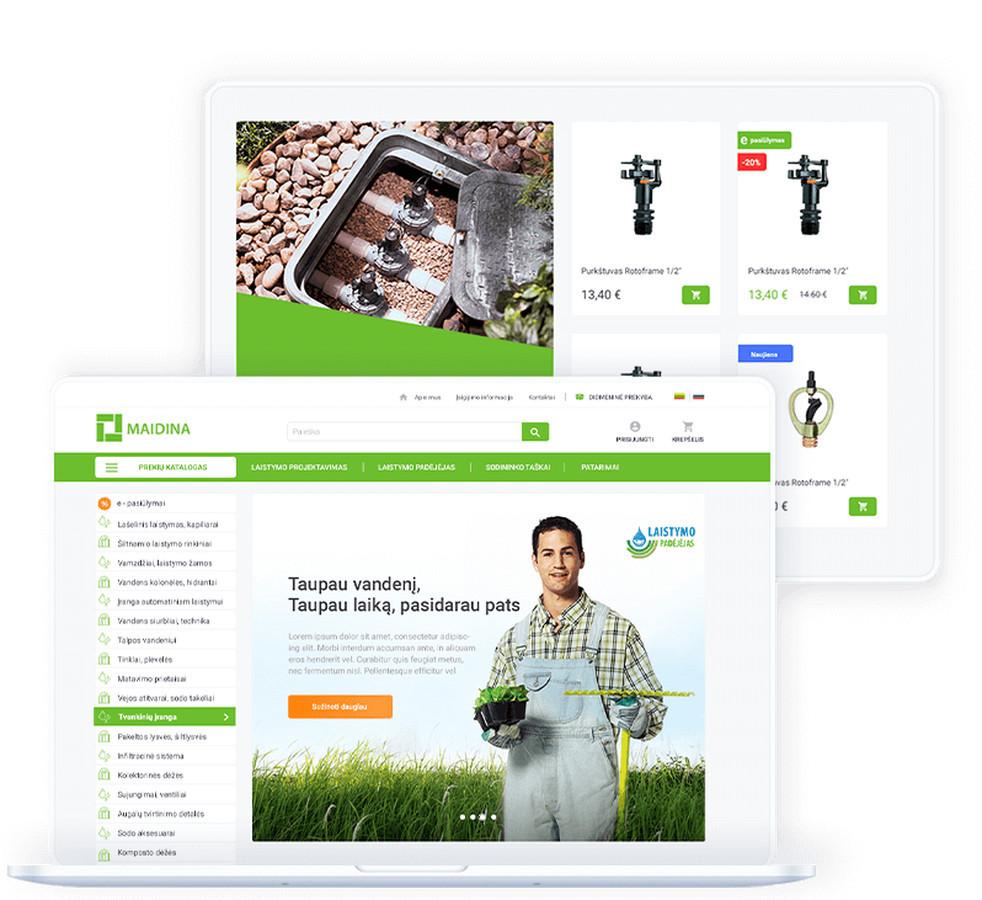 """""""Maidina"""" – laistymo ir apšvietimo sistemų projektuotojas ir įrangos tiekėjas. Užduotis buvo sukurti naują internetinės parduotuvės dizainą, esamai e-parduotuvės el.prekybos sistemai Magento."""