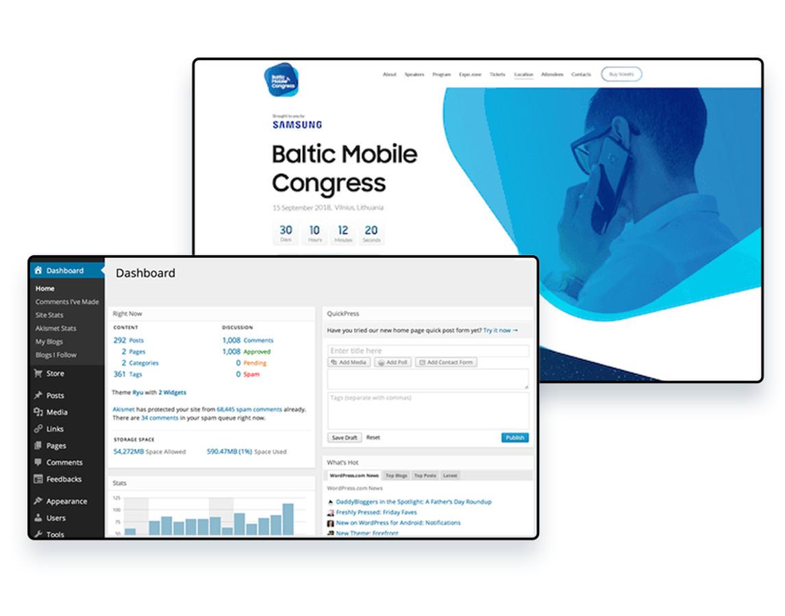 """Renginio puslapis skirtas tarptautinei naujausių mobiliųjų technologijų ir skaitmeninių inovacijų konferencijai """"Baltic Mobile Congress"""", kurią inicijuoja """"Samsung Electronics Baltics""""."""
