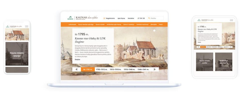 """Modernizuotas Kauno apskrities viešosios bibliotekos elektroninis žinynas """"Kaunas: datos ir faktai""""."""