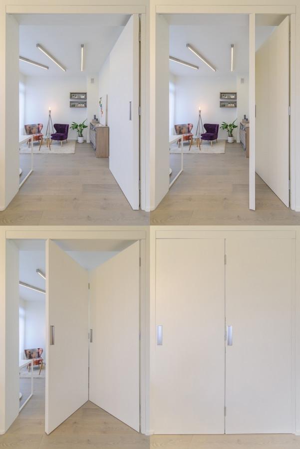 Durys - pertvara. Esant poreikiui uždaras kambarys arba vientisa dar šviesesnė erdvė