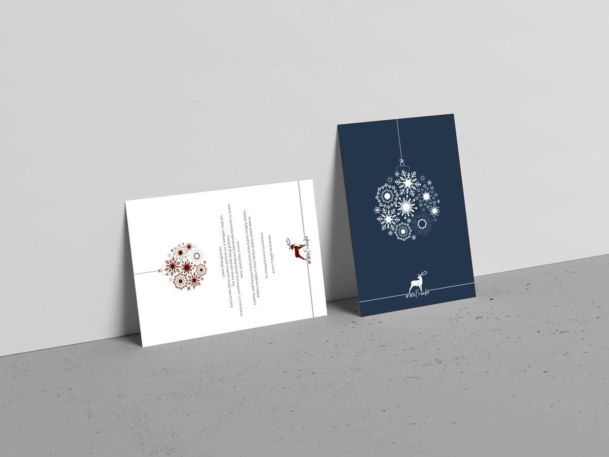 Minimalistinis Kalėdinio atviruko dizainas įmonei - Arans Freight. Sukurtas dizainas pritaikytas tiek spaudai, tiek siuntimui el.paštu. Atvirukas paruoštas trimis kalbomis.