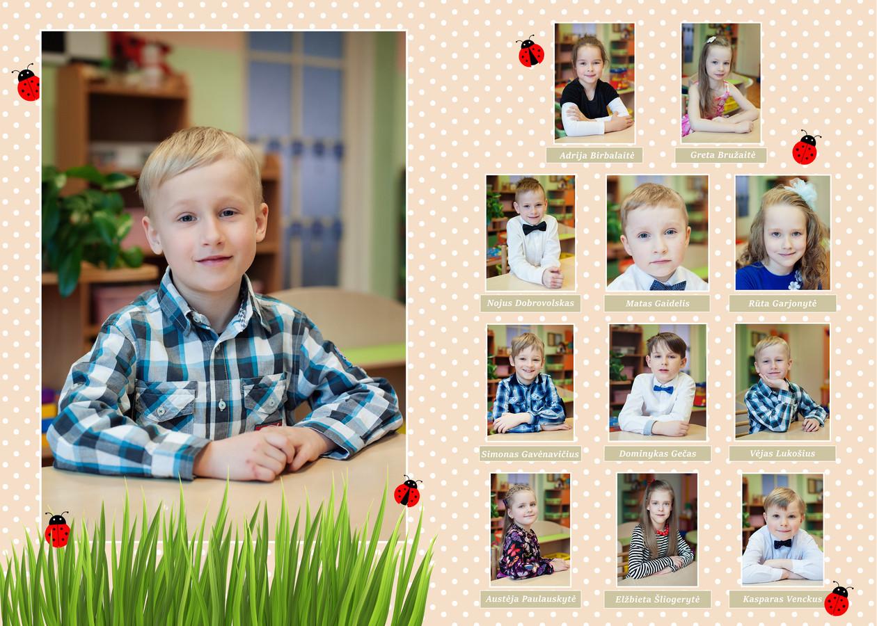 Vinjetės maketavimas iš 2 atvarų (4 psl): vidinė dalis su vaikų nuotraukos ir vardais + viršelis su bendra nuotrauka ir darželio eksterjero nuotrauka.