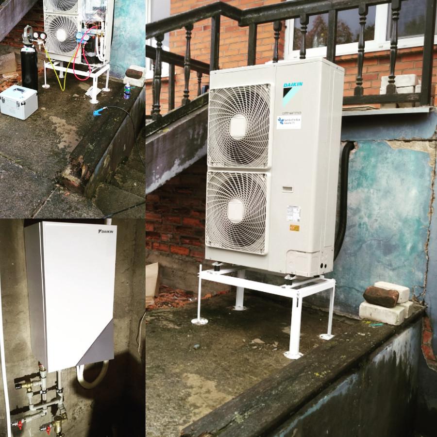 Šilumos siurblių montavimas (freono dalis) nuo 250€,  santechninė dalis +300€, viso 550€, be medžiagų.