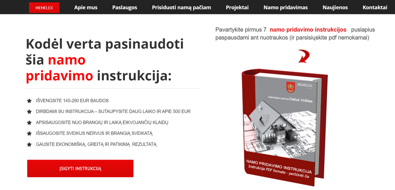 Parduodama instrukcija - Namo pridavimas 123- galite sutaupyti 500 EUR