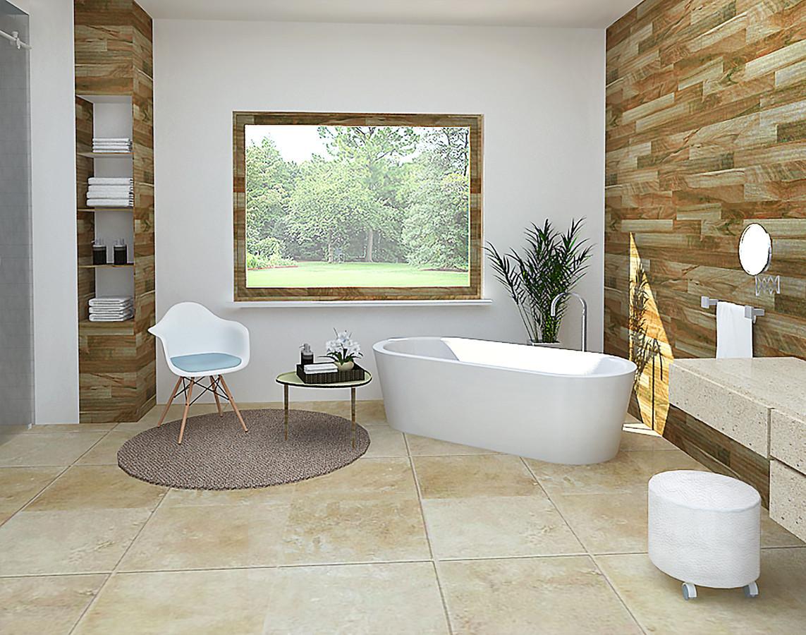 Vonios kambariui kurti buvo pasirinkta moderni minimalistinė stilistika. Todėl interjere naudojamos natūralios medžiagos, bei spalvos. Baltos lubos ir sienos padėjo sukurti šviesesnės ir erdvesnės patalpos įspūdį, o medžio faktūra panaudota interjere sukūrė šiltesnę ir jaukesnę vonios kambario atmosferą.