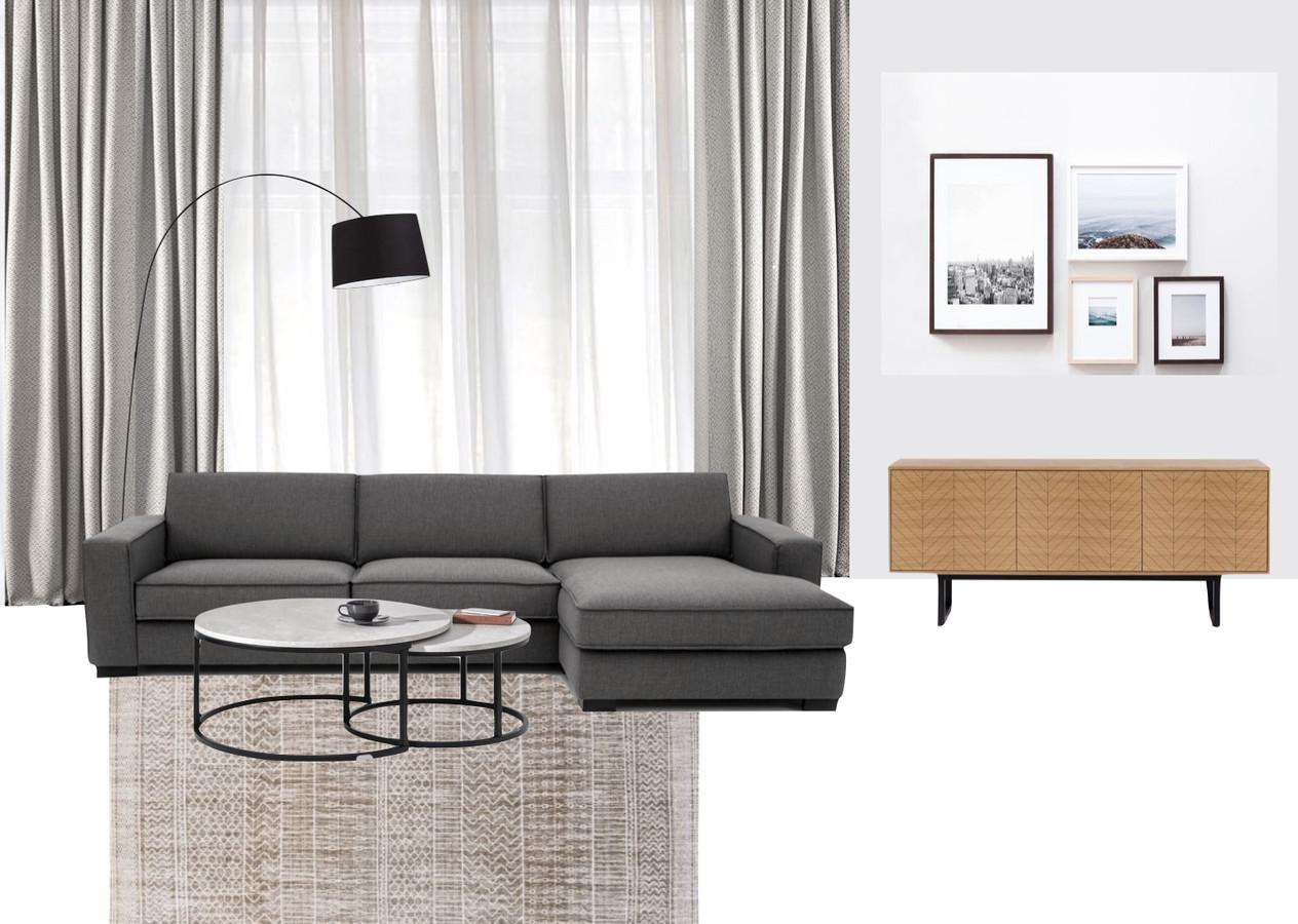 Svetainės Koliažas su realiais baldais