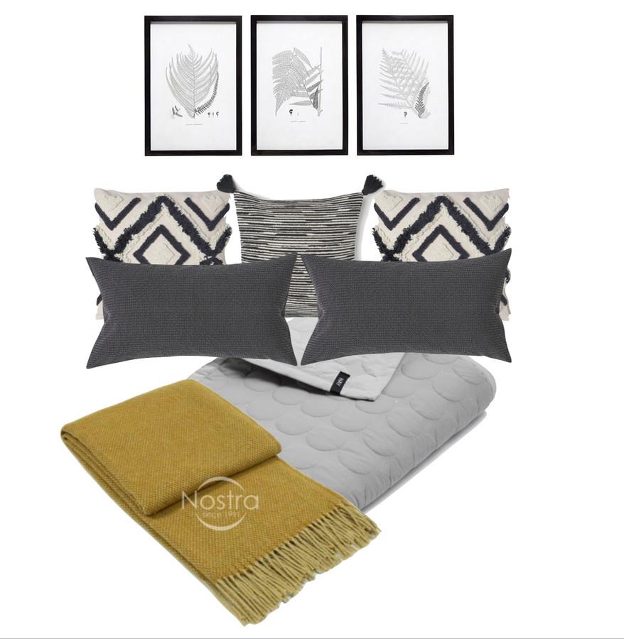 Miegamojo tekstilės derinys. Interjero koliažai tai greitas, nebrangus ir efektyvus būdas pakeisti ar sukurti kambario dekorą.